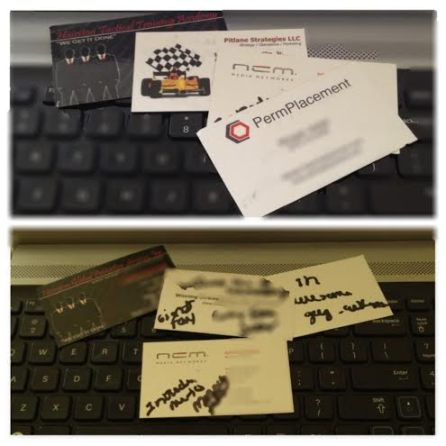 business cards I received, with my notes to remember them by. #BusinessExposure
