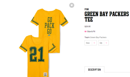 Victoria's Secret Green  Bay Packers Gear